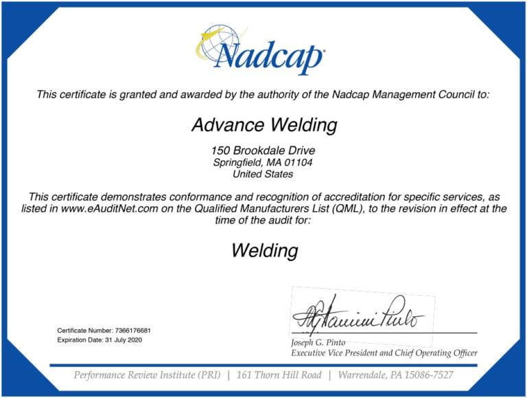Advance Welding Nadcap-Aerospace Welding Certification